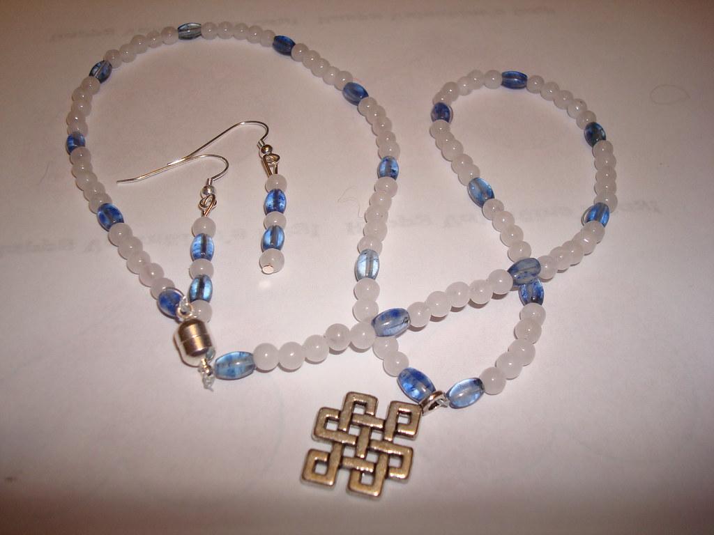 Sterling Silver celtic knot pendent, Quartz and Tanzanite.