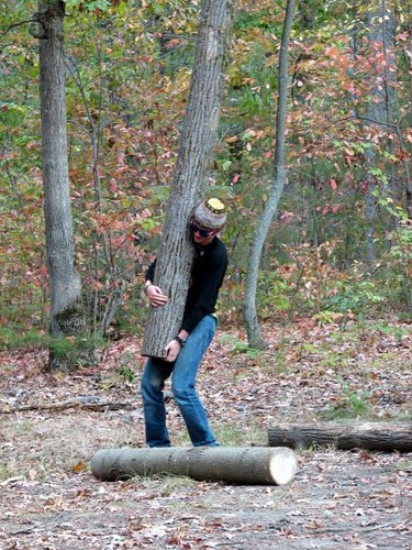 Zack does the log toss