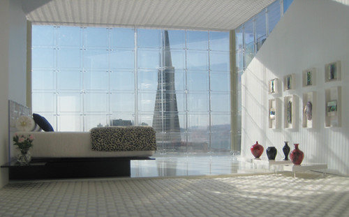 Miniarcs: Staged Penthouse Bedroom with Transamerica Pyramid View