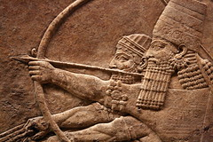 Assyrian King Ashurbanipal ( Libyan Soup) Tags: iraq carving relief bow soldiers arrow archery archer britishmuseum mesopotamia basrelief lionhunt assyria assyrian northpalace ninevah lionhunting royallionhunt royalhunt kingashurbanipal