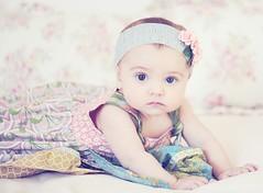 Seven months (Shana Rae {Florabella Collection}) Tags: pink blue portrait baby girl beautiful rose thankyou dress naturallight honey headbands 105mm sevenmonthsold matildajane florabella lilyblue millylillyrose nikond700 dressisabittoobigstill shanarae