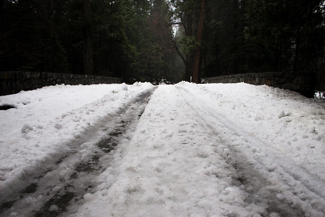 Snow on the roads makes driving in Yosemite difficult and somewhat dangerous.