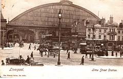 Liverpool Vintage Postcard - Lime Street Station Main Entrance circa 1905 (ronramstew) Tags: old uk england horse station liverpool vintage advertising hotel postcard tram taxis shops pedestrians cart limestreet 1900s adverts merseyside limestreetstation royalhotel