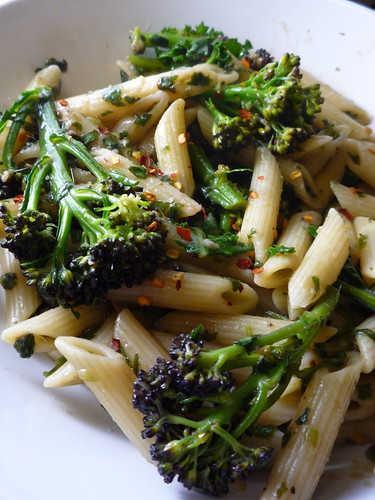 Pasta with purple sprouting broccoli , wild garlic , chilli and anchovies
