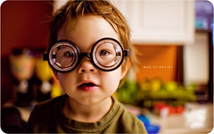 Mad Scientist (isayx3) Tags: boy portrait silly kitchen up 35mm lens glasses nikon child close bokeh fluorescent 365 nikkor f18 18 d3 madscientist dx