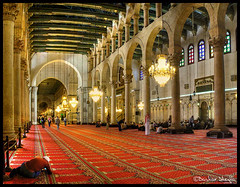 Inside the Umayyad Mosque ! (Bashar Shglila) Tags: light john islam pray mosque syria inside damascus masjid   umayyad masjed
