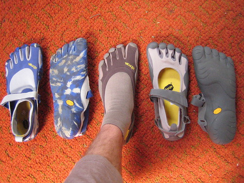 Vibram Five Finger models: KSO (blue), Classic (brown), Sprint (gray)