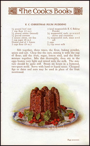 Click on this image to see a larger copy of this 1930s plum pudding recipe. Scan by Daily Bungalow.