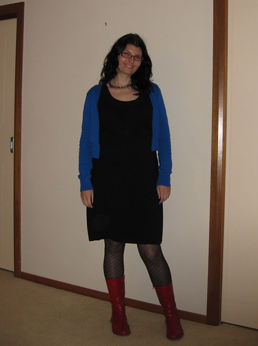 Black dress, blue cardie and red boots