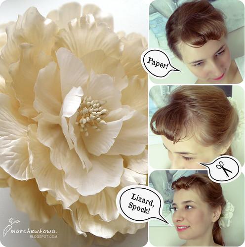 marchewkowa.blogspot.com, j.z., 50s, vintage, retro, fashion blog, faux bang, fryzury z lat 50., pleciona słomkowa torebka, KappAhl, vintage stories