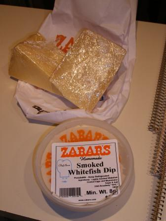 Zabars Smoked Whitefish Dip and Piave and English Farmhouse Cheese