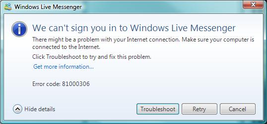 Windows Live Messenger broken after Windows Vista SP2