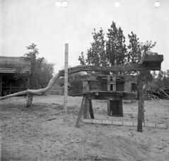 Measurement instrument and sugar cane grinder (State Library and Archives of Florida) Tags: florida machinery farms sugarcane