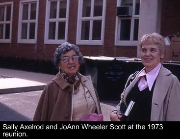 Sally Axelrod and JoAnn Wheeler Scott at the 1973 reunion.