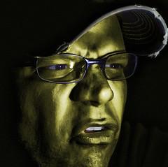 52 WEEKS #4 Metal, green. (M A R C O   .) Tags: portrait selfportrait photoshop metallic ps processing goldengreenish