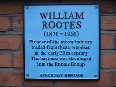 Photo of William Rootes blue plaque