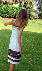 Shirred Blue and Brown Butterfly Sundress