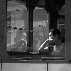 (briyen) Tags: street portrait woman reflection photo tram hong kong nights gaze blackdiamond 1001 bej mywinners platinumphoto flickrchallengegroup flickrchallengewinner chercherlafemme