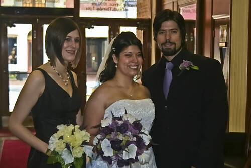 The bride, her brother, and future sister in law