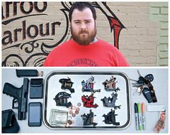Russ Diptych (J Trav) Tags: portrait money tattoo keys persona diptych gun tray sharpie iphone inkanddagger d40 russabbott tattooguns moocards