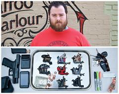 Russ Diptych (J Trav) Tags: portrait money tattoo keys persona diptych gun tray sharpie iphone inkanddagger d40 russabbott tattooguns moocards
