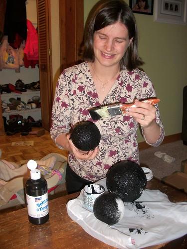 painting Styrofoam balls