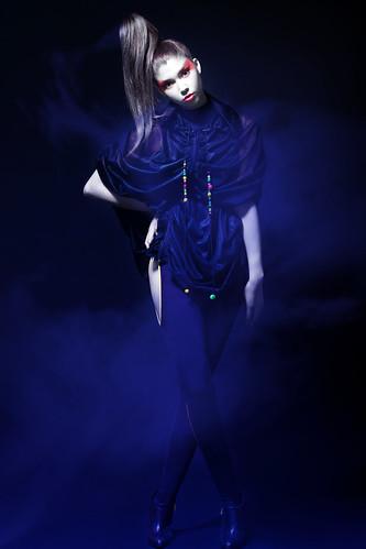 [Free Image] People, Women, Fashion, Studio, Blue, 201110081500