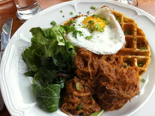 OMG, cheddar waffle with spicy pulled pork and fried egg