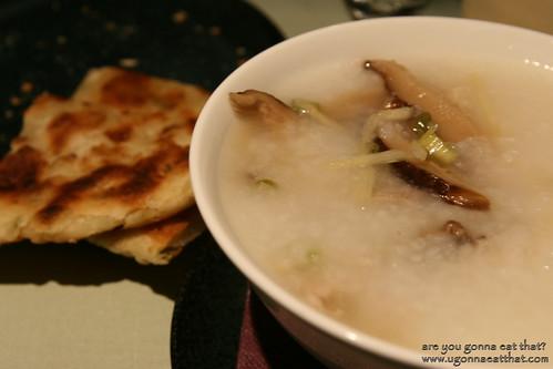 Mushroom congee, Cathay Pacific flight