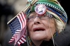 Times Square Inauguration 03 (nataliebehring.com) Tags: city urban usa newyork history horizontal america mom outdoors glasses washingtondc unitedstates president politics americanflag patriotic timessquare americans oldwoman obama inauguration barack elderlywoman swearingin colorimage presidentobama