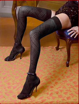 Ars Vivendi :  patterned black stockings hosiery