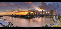 Brisbane at Dusk - (21 Shot HDR) ([ Kane ]) Tags: city bridge pink sun clouds boats stitch dusk pano wide brisbane panoramic qld rays kane hdr storybridge sigma1020mm gledhill kanegledhill brisbanehdr humanhabits kanegledhillphotography