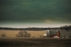 Tucked Away (Loren Zemlicka) Tags: november autumn trees sky fall wisconsin clouds barn rural landscape corn midwest farm horizon country 100mm silo hills land fields agriculture 2008 monticello ae aperturepriority canoneos5d greencounty canonef100mmf28macrousm lorenzemlicka