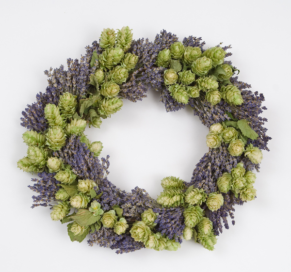 Wreath with hops and lavender by Elissa Shaffo