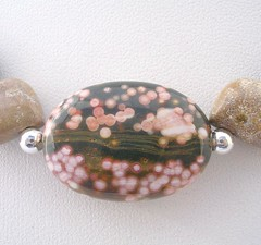 Ocean Jasper varies in colour and patterns. This is a great example of the orbicular patterns it can exhibit.