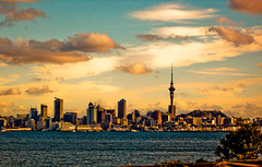 Sun Setting over Auckland City (EXPLORED) (~Haani~) Tags: city blue trees light sunset sea newzealand sky green tower nature water grass leaves yellow clouds buildings cityscape skyscrapers auckland skytower haani