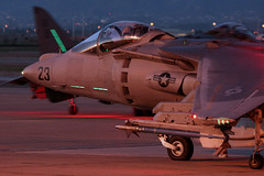 Harrier Night Ops (Joe_Copalman) Tags: night dusk marines bae yuma blacksheep harrier jumpjet sidewinder mcdonnelldouglas av8b aim9 williamsgateway vma214 harrierii we23 mcasyuma mag13 slimelights formationlights