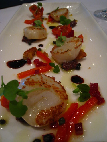 Seared Scallops, Petite Panzanella, Confit Beetroot, Baby Basil & Sherry Vinaigrette