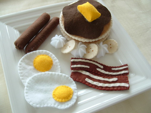 Felt Food - Breakfast - Pancakes, bacon, eggs and sausage