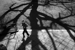 Escape from the shadows (CVerwaal) Tags: people blackandwhite woman newyork mystery analog fuji shadows escape centralpark running ishootfilm oldschool mysterious jogging runner elm youngwoman jogger elms englishelm fujisuperia minox35ml classicblackwhite