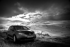 Golf on Vikafjellet (Kristoffer Garlid) Tags: sky blackandwhite bw car vw golf volkswagen grey norge hdr sogn meanmachine flickrsbest blackwhitephotos myrkdalen vikafjellet awsomecar