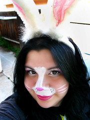 Here comes Panda Cottontail! (Lady Pandacat) Tags: pink portrait white reflection self nose shiny colorful bright shimmery makeup vivid whiskers mexican yeartwo hispanic latina browneyes 2009 bunnyears happyeaster catchlight fantabulous catchycolorspink pandacat pandabunny 365daysreject canong9 pandacatbaby tinaangel pandacottontail yeahiknowimpale ladypandacatvonnopants