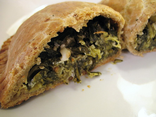 vegetarian pasty with spring greens