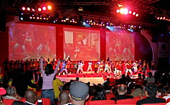 Opening Ceremony - Indaba09 (South African Tourism) Tags: party music southafrica football singing dancing soccer events ceremony mascot hospitality 2010 durban indaba southafricantourism indaba2009