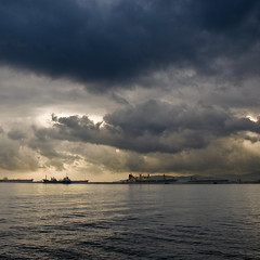 Harbour Views (Monty88) Tags: sunset clouds puerto atardecer bay harbour ships bahia nubes gibraltar straights estecho