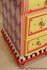 The Candy Shoppe Hand Painted Vanity (madteapartyfurniture) Tags: pink orange yellow blackwhite purple bright furniture stripes vanity bubbles handpainted swirls dots harlequin bold whimsical hotpink homedecorred
