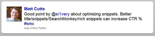 Matt CuttsTweet re Rich Snippets