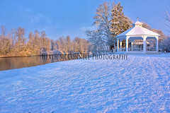 The Gazebo-Winter (HeathMcConnell) Tags: snow river landscape outdoors photography lawn objects gazebo lamppost lantern watermarked 1x15