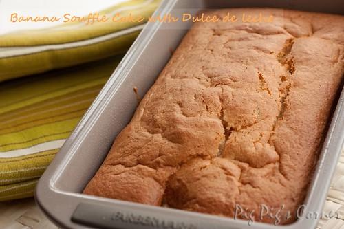 Banana Souffle Loaf with Dulce de Leche
