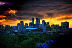 downtown minneapolis stormy sunset (Dan Anderson (dead camera, RIP)) Tags: sunset storm tower rain minnesota clouds downtown prospectpark minneapolis thunderstorm twincities mn witcheshat towerpark dananderson minnesotathunderstorms